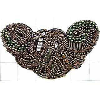 "Designer Motif Bronze Beads and Rhinestones 3.5"" x 5.5"""