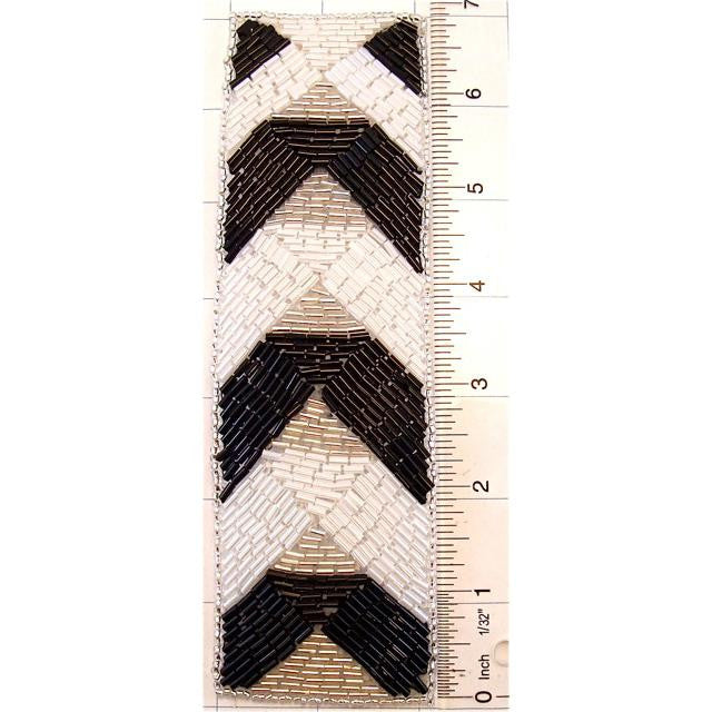 "Designer Motif with Black and White Beads 7"" x 2"""