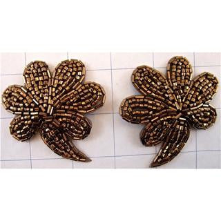 "Flower Pair with Bronze Beads 2.5"" x 3"""
