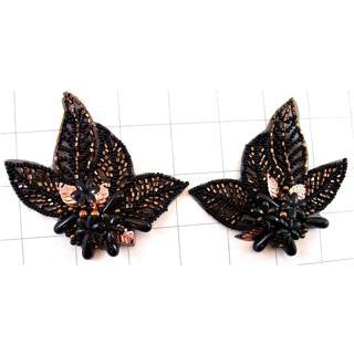 "Leaf Pair Bronze and Black Beaded 4"" x 3"" ea."