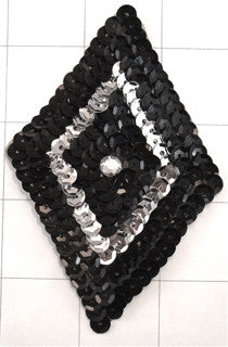 "Triangle Black and Silver with Rhinestone 3"" x 4.5"""