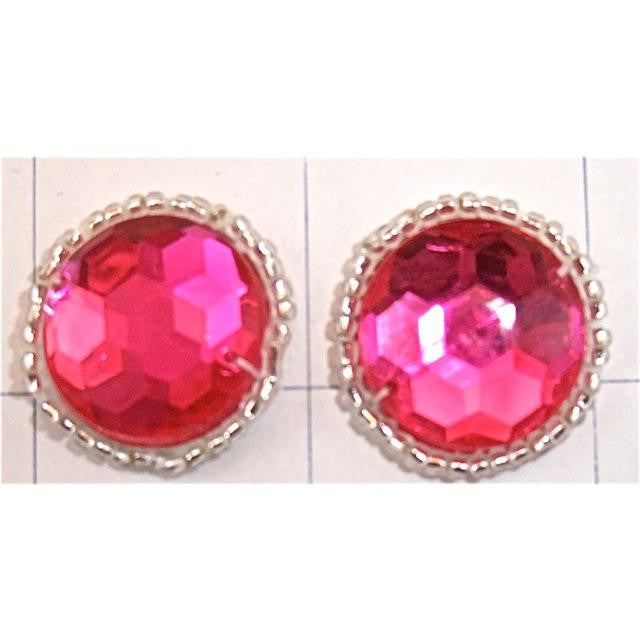 Gem Motif Fuchsia and Silver Beads, 1""
