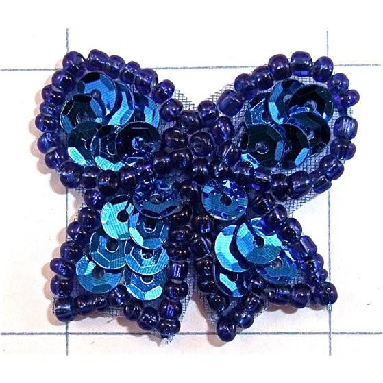 "Bow Blue Sequins and Beads 1.25"" x 1.25"""