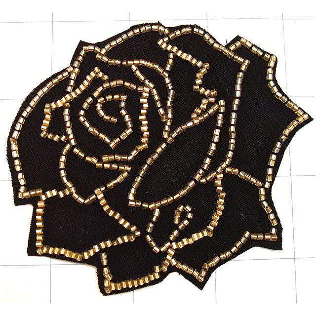"Flower Black and Gold Embroidered and Beads 3.5"" x 3.5"""