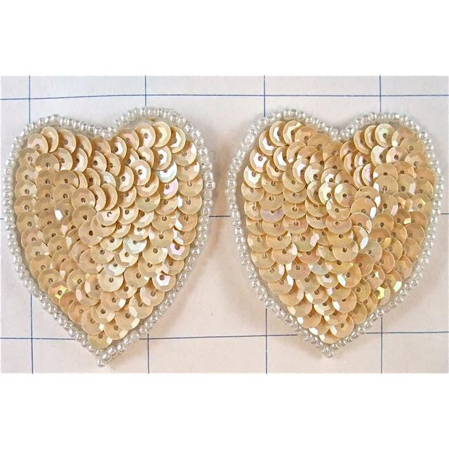 Hearts Beige Set of 2 with White Beads  1.5""