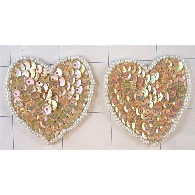 Hearts Set of Two  Beige and White Trim  1.7/8""