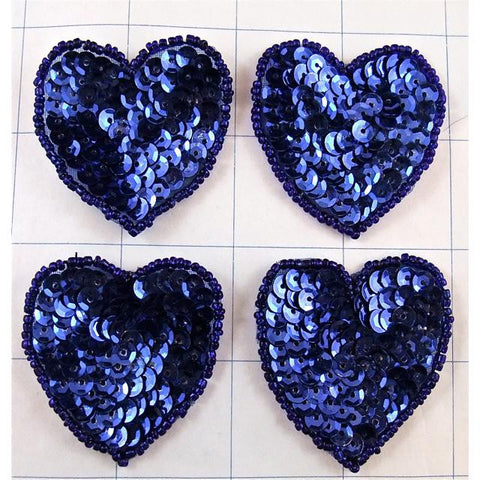 Heart set of Four with Royal Blue Sequins and Beads 2""