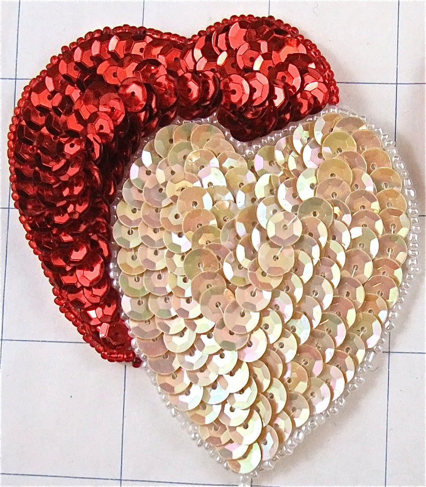 "Heart* Red and Beige Attached 3.5"" x 3"""