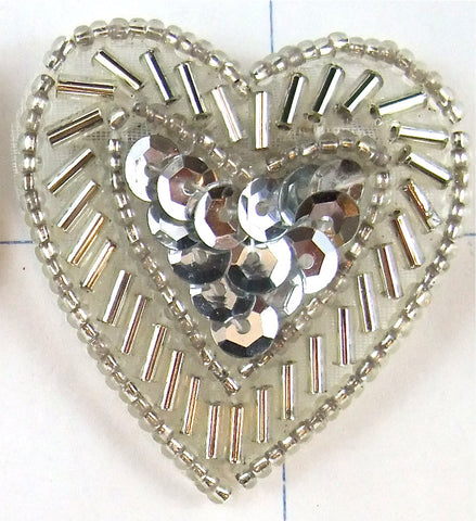 "Heart Silver Beads with Silver Sequin Center 1"" x 1.5"""