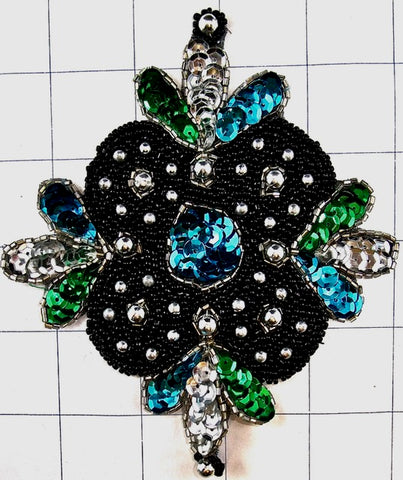 Designer Motif with Turquoise Green Sequins and Black and Gold Beads 4""