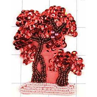 "Trees Red with Sequins and Pearls 3"" x 2.5"""