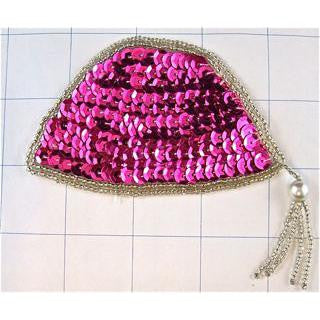 "Hat Pink with Silver Trim and Tassels  2.5"" x 4"""