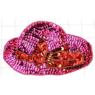 "Large Pink sequin hat with red sequin bow  7"" x 3.5"""
