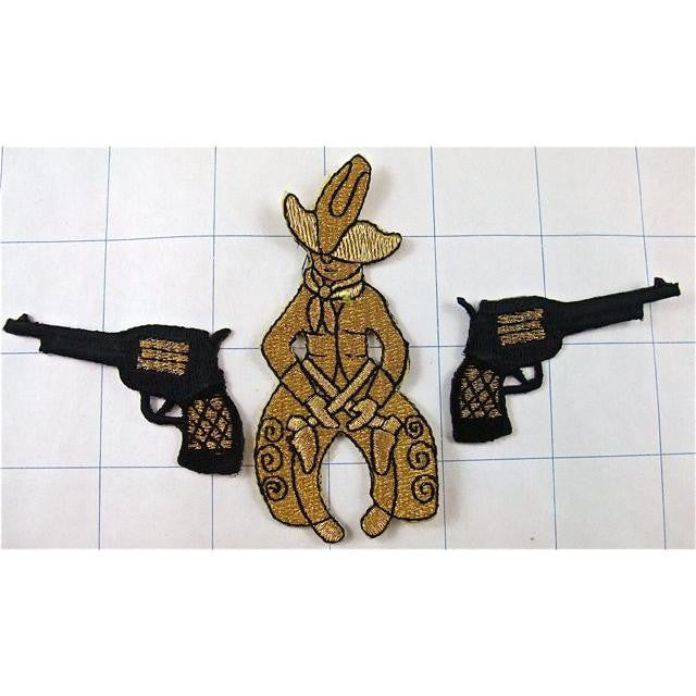 "Cowboy 4"" x 1.5"" Gold Metallic Thread and Black Pistols 1"" x 2"""