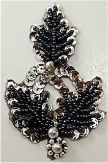 Leaf Motif with Black and Silver Beads