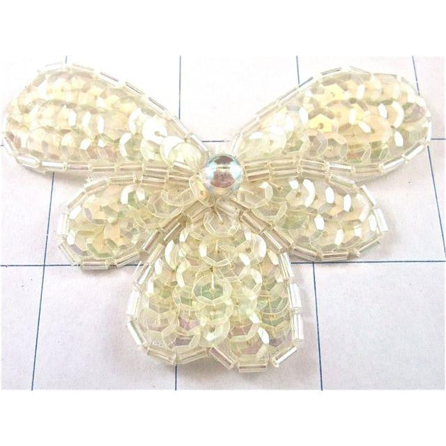"Flower Iridescent with Clear Beads 2.5"" x 3"""