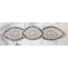 "Designer Motif with High Quality Rhinestones, Pearls and White Beads 9"" x 2"""