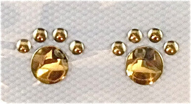 Paw Print Pair with Gold Metal Iron-on .5""