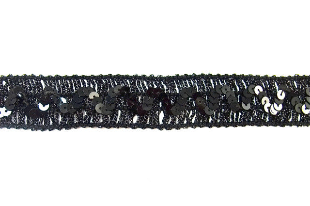 "Trim Black with Zigzag Sequin Pattern  1"" x sold by yard"