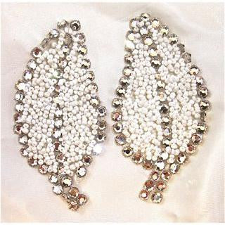 "Leaf Pair with White Beads and High Quality Rhinestones 3.5"" X 1.5"" each leaf"