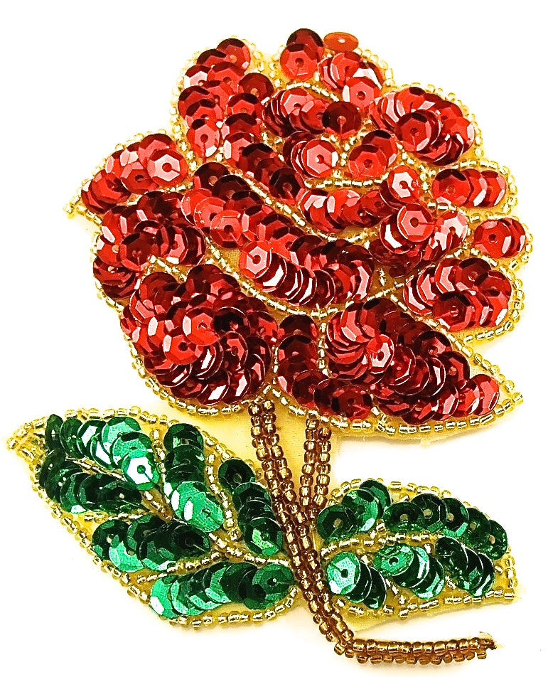 "Flower Red Rose with Red Sequins and Beads 4"" x 3"""