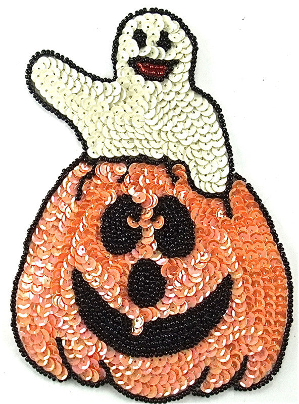 "Pumpkin with Ghost Sequin Beaded 6"" x 4.5"""