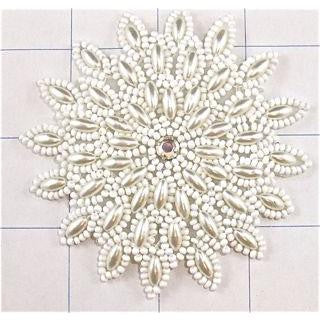 "Flower White Pearl with Beads 3"" x 3"""