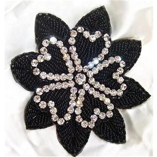 Flower with Black Bead and Rhinestones 4.5""