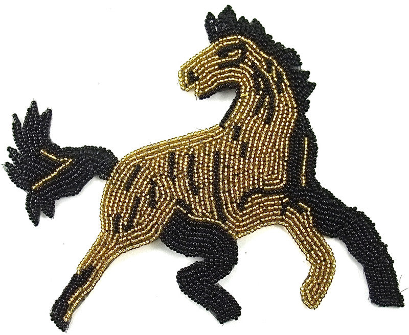 "Horse with gold and Black Beads 5""x 5.5"""
