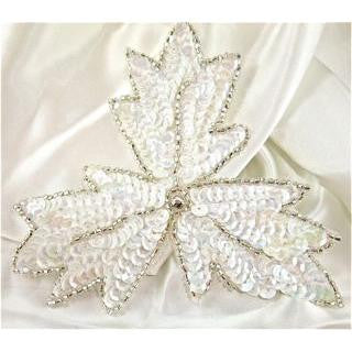 "Leaf White with Crystal Center 5"" x 5"""