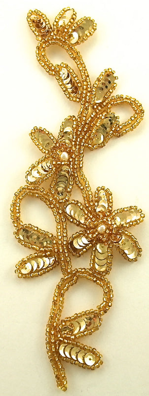 "Flower with Gold Sequins Gold Beads & Pearls 8"" x 3"""