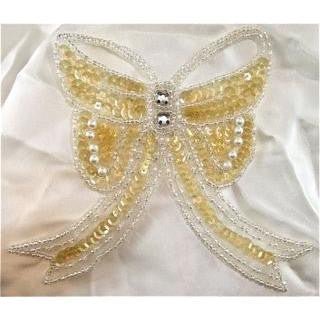 "Bow Lite Yellowish Iridescent sequins and Pearls and Rhinestones 4"" x 5"""