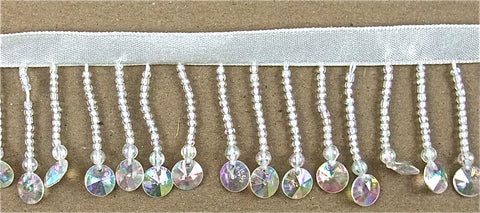 Fringe by the Yard with Iridescent AB Clear Beads 1""