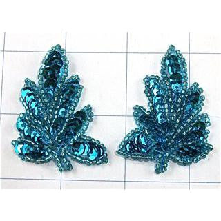 "Flower Pair with Sequins and Beads Turquoise 2"" x 1.25"""