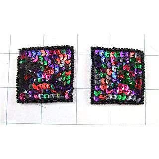 Square Pair Multi-Colored  1.5""