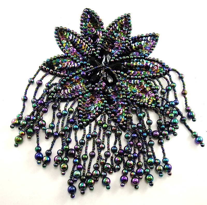 "Epaulet Flower Moonlight Beads and Sequins 8"" x 5"""