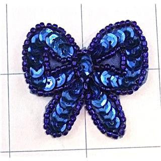 Bow Blue Sequins and Beads 1.5""