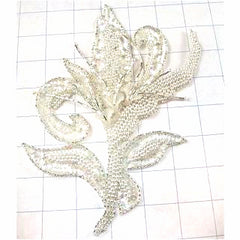 "Designer Motif Leaf with Iridescent Pearls, Beads and Raised Acrylic Flowers in Middle 8"" x 7"""
