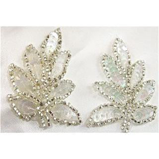 "Leaf Single Iridescent sequins with silver beads 2"" x 1.5"""