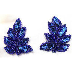 "Leaf Pair or Single with Royal Blue Sequins and Beads 2"" X 2.5"""