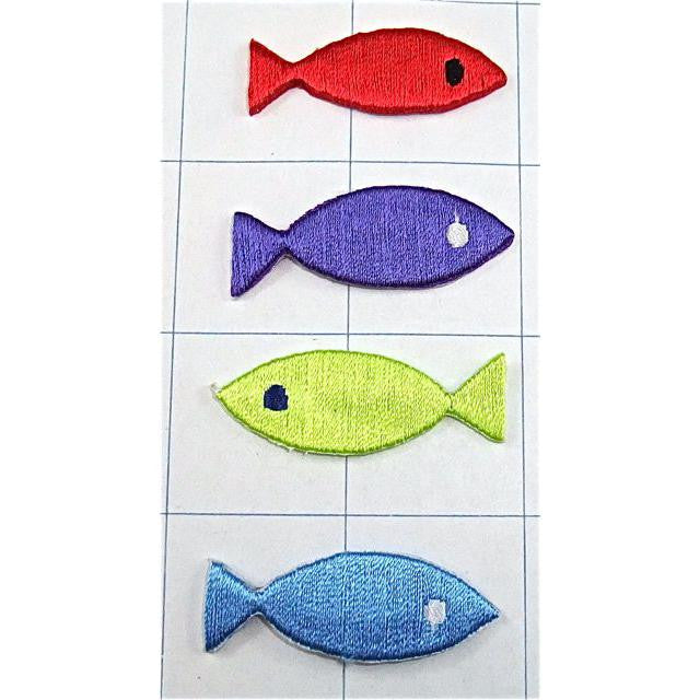 "Fish Four Embroidered Iron-on  1/2"" x 1.5"""