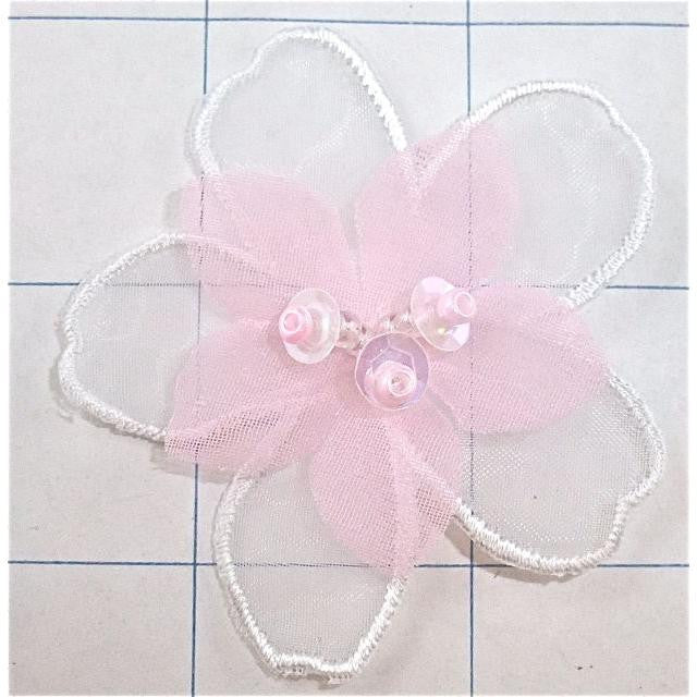 PINK AND WHITE CHIFFON FLOWER WITH SEQUINS 2.5""