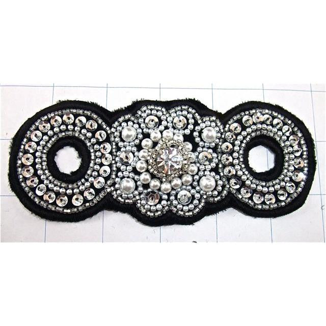 "Designer Motif with Black Backing White Beads and Silver Sequins 2.25"" x 5"""