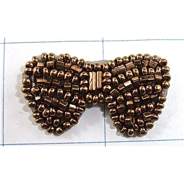 Bow Bronze Beaded 1""