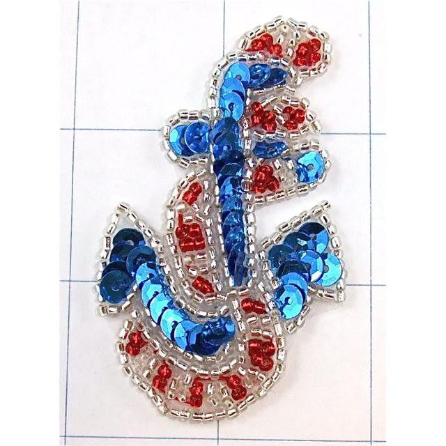 "Anchor with Red, Blue Sequins and Silver Beads 2.5"" x 1.5"" - Sequinappliques.com"