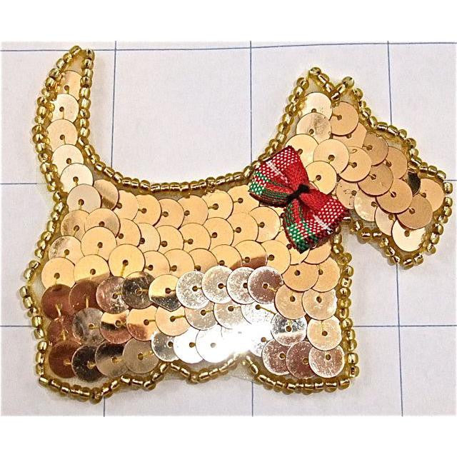 "Dog Scotty Gold Sequins Plaid Bow  2.5"" x 3"""
