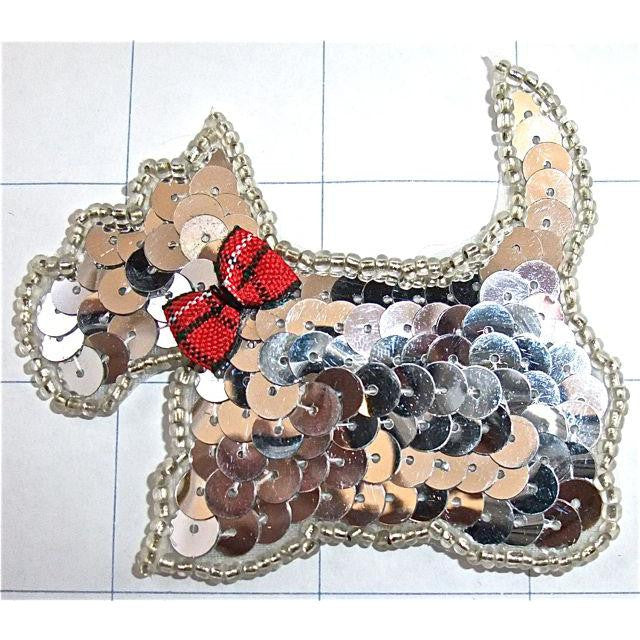 "Scotty Dog Facing Left, Silver Sequins and Beads with Plaid Bow 2.5"" x 3"""