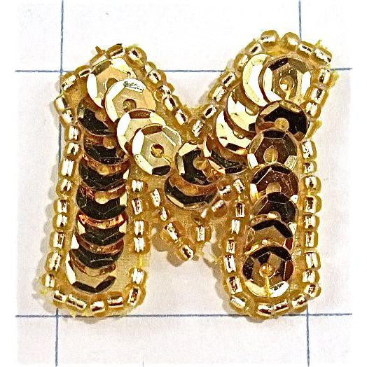 Letter M with Gold Sequins and Beads 1.25 x 1.5""""