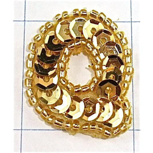 Letter Q with Gold Sequins and Beads 1.25""