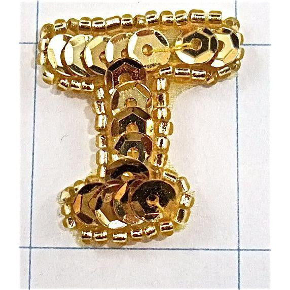 Letter T with Gold Sequins and Beads  1""